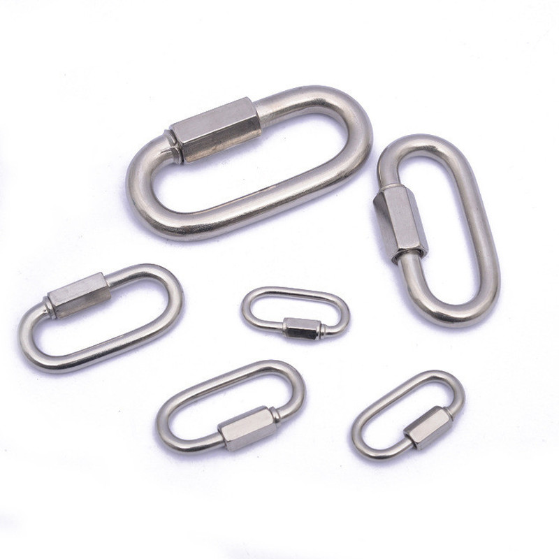 New Stainless Steel Screw Lock Climbing Gear Carabiner Quick Links Safety Snap Hook Chain Connecting Ring Carabiner Chain Buckle