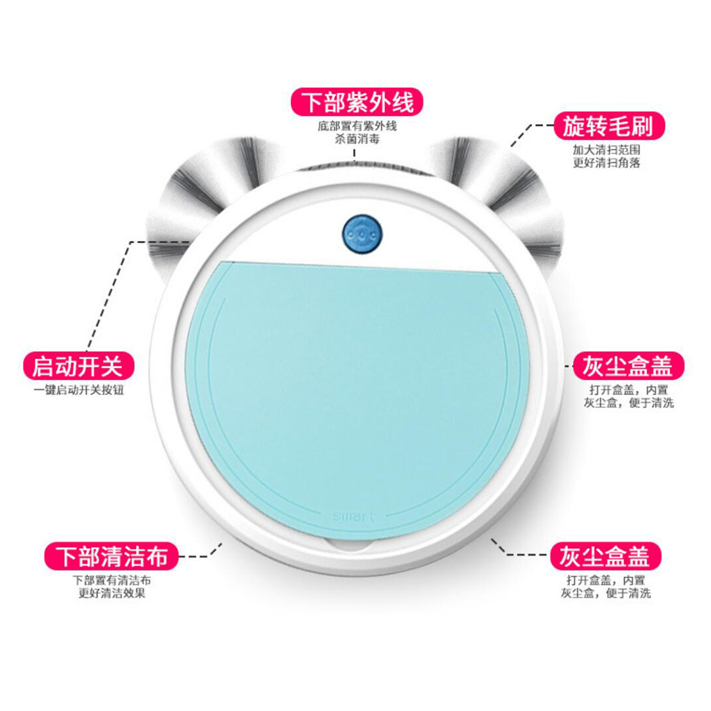 Vacuum Cleaner Robot Automatic Mopping Sweeper Ultraviolet Sterilization Vacuum Cleaner 9cm Green