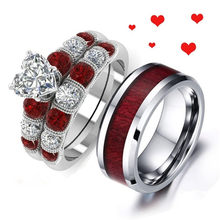 MD 2019 Fashion Couple Gothic Tungsten Steel Men Ring Women Stainless Steel Heart Crystal Semi-precious Stone Engagement Ring(China)