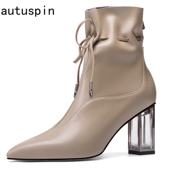 autuspin Women Calfskin High Heels Boots Winter Fashion Pointed Toe Chelsea Boots 2020 Fashion Genuine Leather Handmade Shoes high quality brand pointed toe chelsea boots genuine leather men ankle boots business office banquet fashion big size shoes