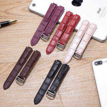 14mm 16mm 18mm 20mm 22 Ballon Bleu Genuine Leather Watch Band Strap Gold deployment Buckle Clasp fit Cartier watchband red Pink