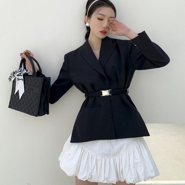 [EWQ] Ball Gown Skirt Side slits cross belted blazer chic black coats high waist queen office clothing 2-piece set 2021 summer 1