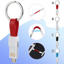 Magnetic 3 IN 1 9CM Mini USB Cable Mobile Phone Portable Charging Data Cables Type C/Micro USB/8 Pin Keychain Charger Wire(China)