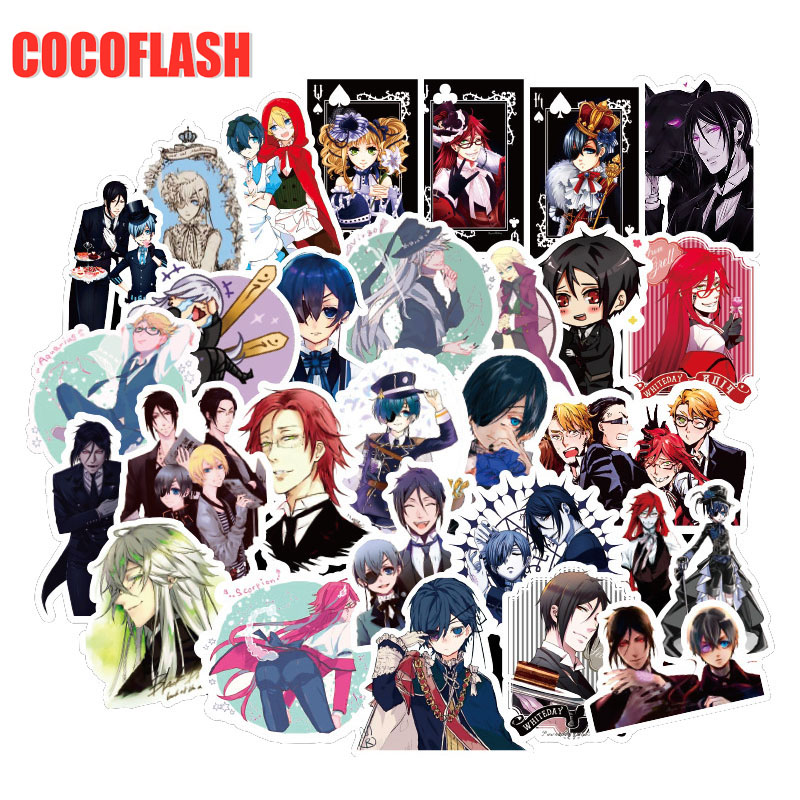 10/50Pcs/set Anime Black Butler Stickers For Guitar DIY TOY Bicycle Motorcycle Car Skateboard Snowboard Laptop Luggage