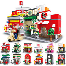 цена на Mini Street View Building Blocks Compatible with LegoNing Shop Street Small Particle Building Blocks Toys Scene Building Model