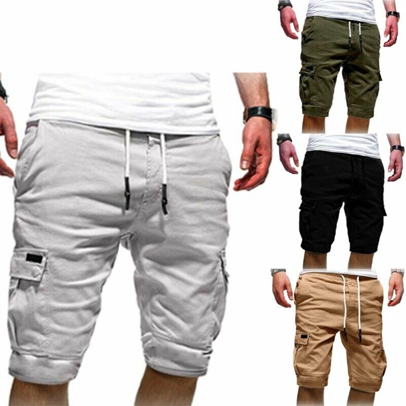 Летние мужские повседневные удобные шорты мешковатые спортивные бегуны эластичный пояс, карманы до колен шорты черный зеленый белый хаки серый
