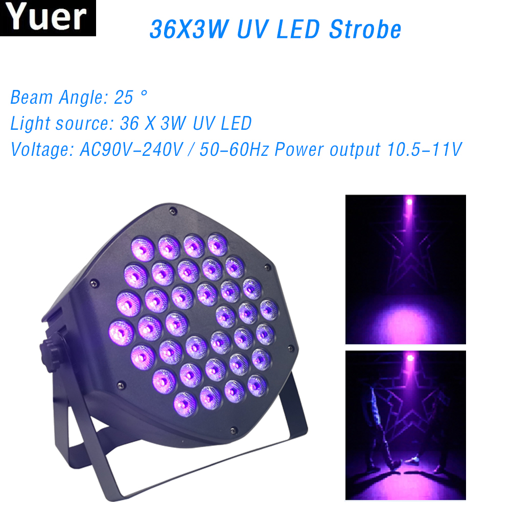 36X3W UV Led Beam Par Light High Quality Professional Stage Dj Disco UV Strobe Effect Light DMX 512 Control For Party Bar Club