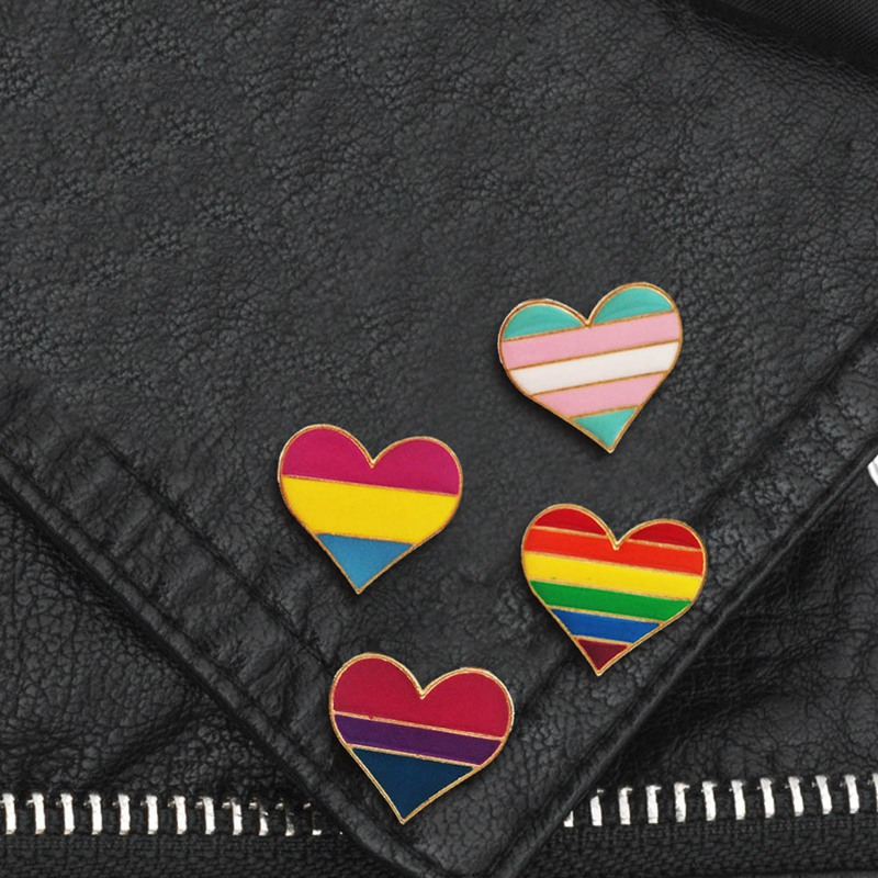Heart Shape Jewelry Accessories Collar Pin Denim Brooches Brooch Gay Badge
