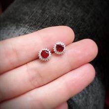 Натуральный Красный Гранат Серьги с драгоценными камнями 925 серебро натуральный драгоценный камень серьги девушка подарок ювелирные изделия