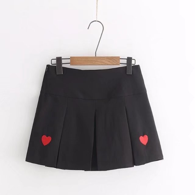 Spring Clothing New Style Korean-style Versatile Short Skirt High-waisted Pleated Skirt Embroidered Heart Versatile Students Ski