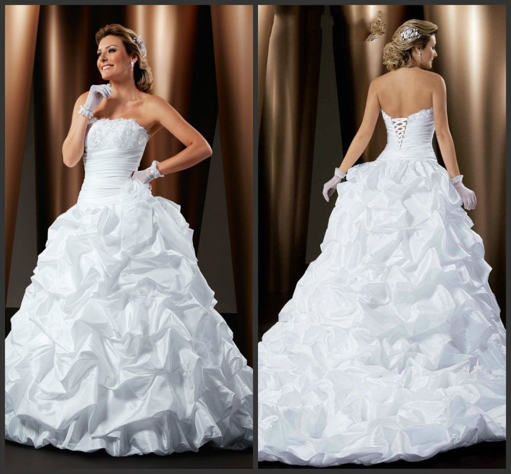 Hot Sale Strapless Lace Up Back Vestidos De Festa Vestido Longo Wedding Dress In Brazil