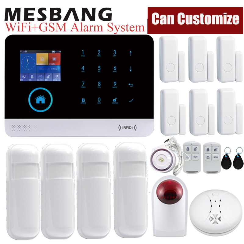 Home Wifi Alarm System Kits Wireless Security Alarm Kits Burglar GSM System APP Control With Infrared Door Smoking Sensors