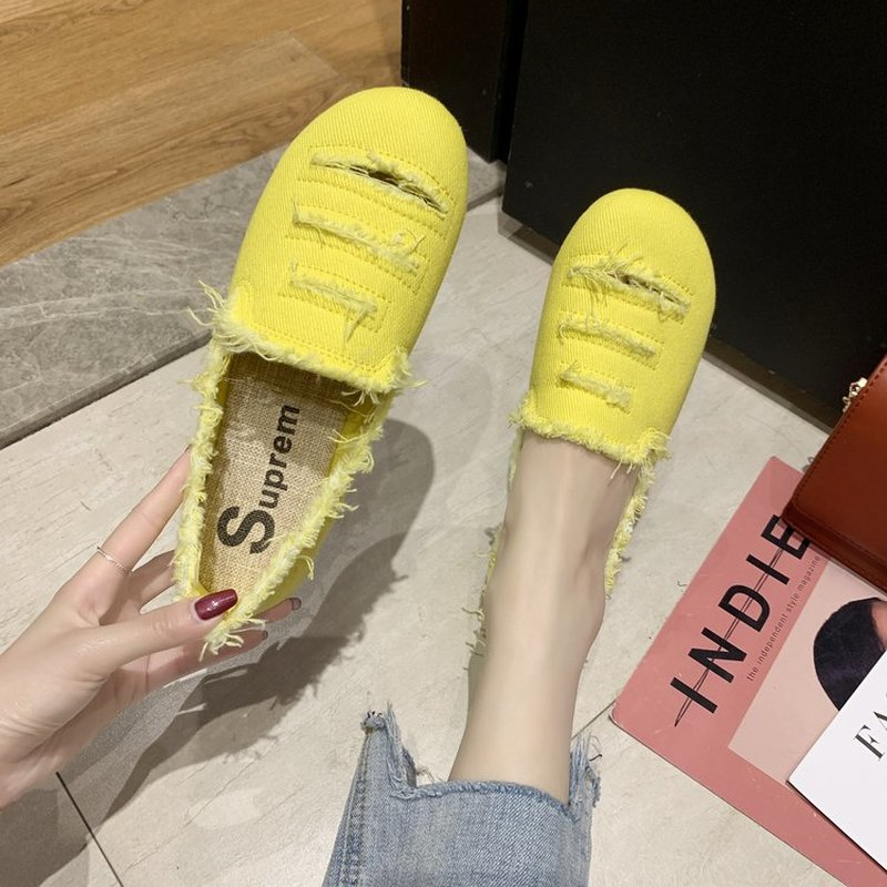 Women Casual Flats Women Comfort Round Toe Shoes Slip-on Canvas Loafers Ladies Outdoor Shoes Walkng Shoes