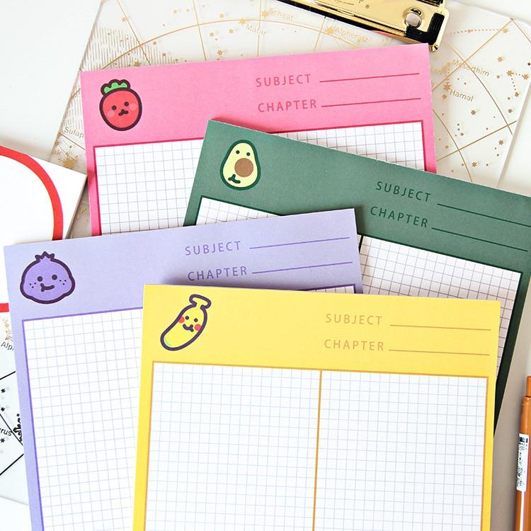 INS Fruit Color Fashion B5 Memo Pad 24.8cm*17.6cm 30 Sheets Grid Paper Notes