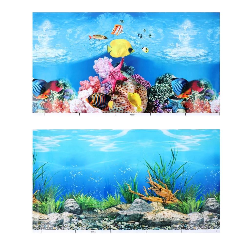 Popetpop Aquarium Fish Tank Background Sticker 3d Double Sided Wallpaper Fish Tank Decorative Pictures Underwater Backdrop Decor Decorations Aliexpress