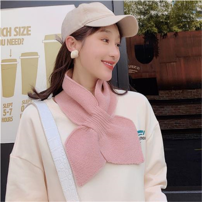 The New Gate Han Guodong Knitting Wool Collar Soft Sister Small Bowknot Scarf Female Winter Cross Warm Scarf CM101