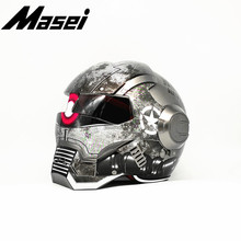Masei Iron Man helmet motorcycle Vintage Retro helmet half helmet open face helmet casque Motocross Off Road Touring helmet Zaku masei 610 top abs moto biker helmet ktm iron man personality special fashion half open face motocross helmet matt black