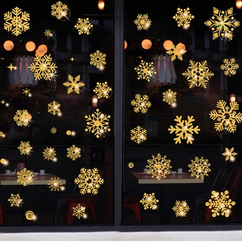3D Christmas Window Snowflake Stickers Gold Silver Electrostatic Stickers Home Decoration New Year Wallpaper image
