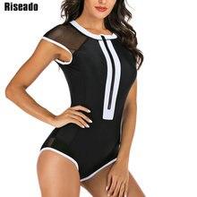 Riseado Patchwork Einem Stück Badeanzug Sexy Mesh Rash Guard Surfen Anzüge 2020 Bademode Frauen kurzarm Sommer Strand Tragen