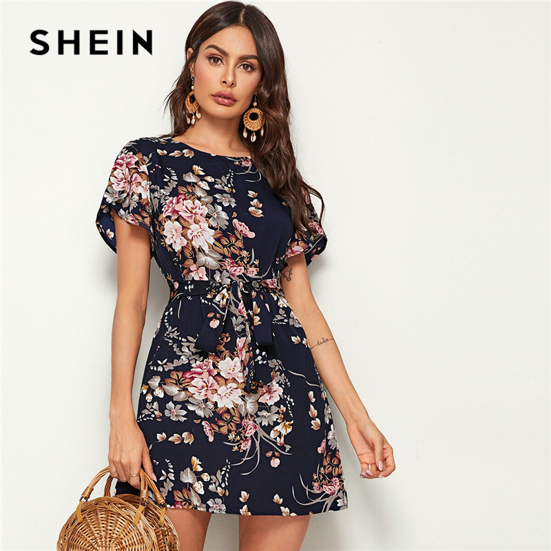 SHEIN Navy Floral Print Petal Sleeve Belted Tunic Shift Dress Women Summer Short Sleeve Ladies Straight Bohemian Short Dresses