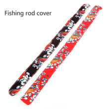 Fishing Pole Cover Rod Sock Fishing Rod Sleeve Printed Retro Style Anti Slip Cover Protector for Spinning Fishing Pole fishing rod cover pet mesh anti scratch protector pole portable storage protection sleeve universal elastic stretch professional