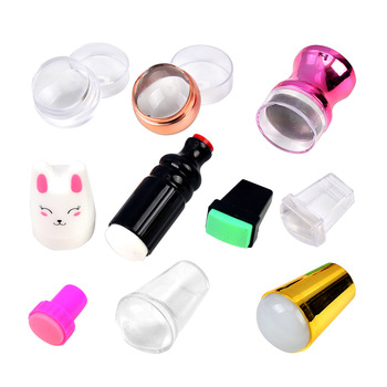 10 Types New Design Pure Clear Jelly Silicone Nail Art Stamper Scraper with Cap Transparent Nail Stamp Stamping Tools Nail Art