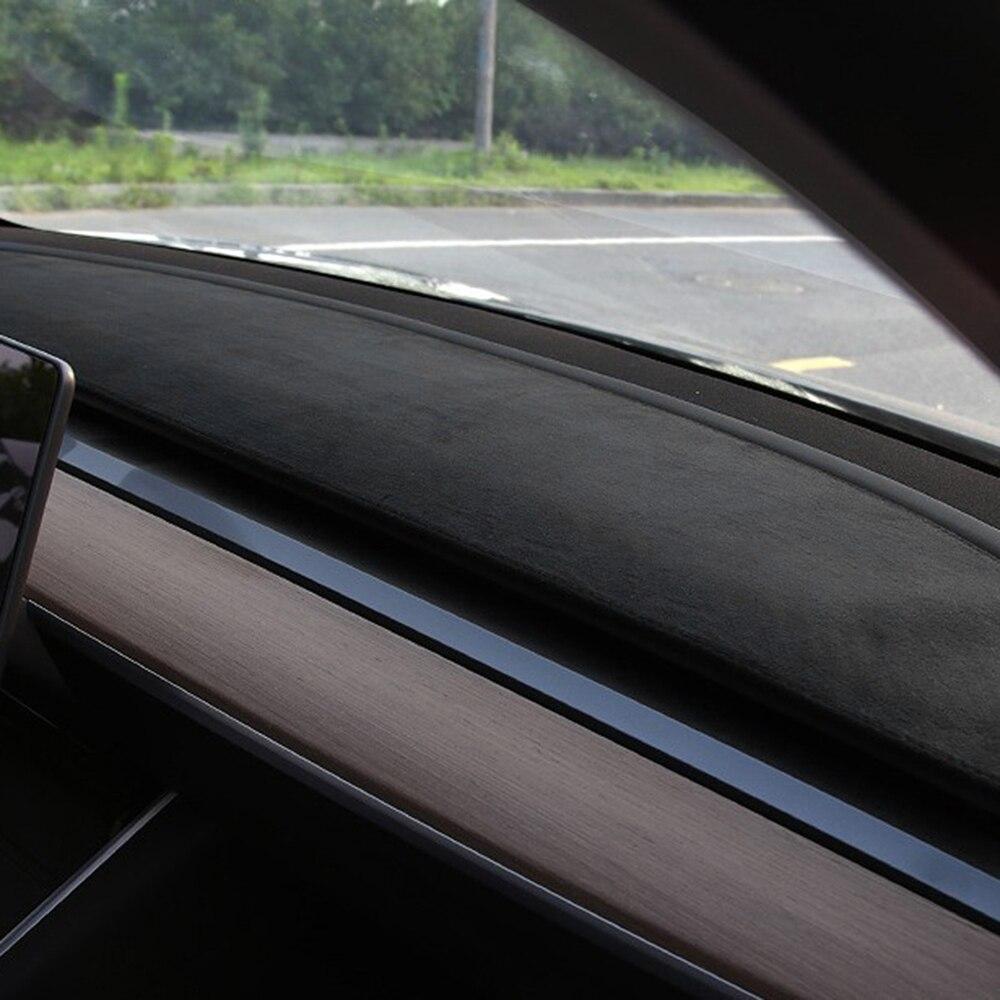 Carpet Dash Mat For Tesla Model 3 2017-2019 Auto Dashboard Velvet Cover Black Blocks Dust Reduces Noise Car Accessories