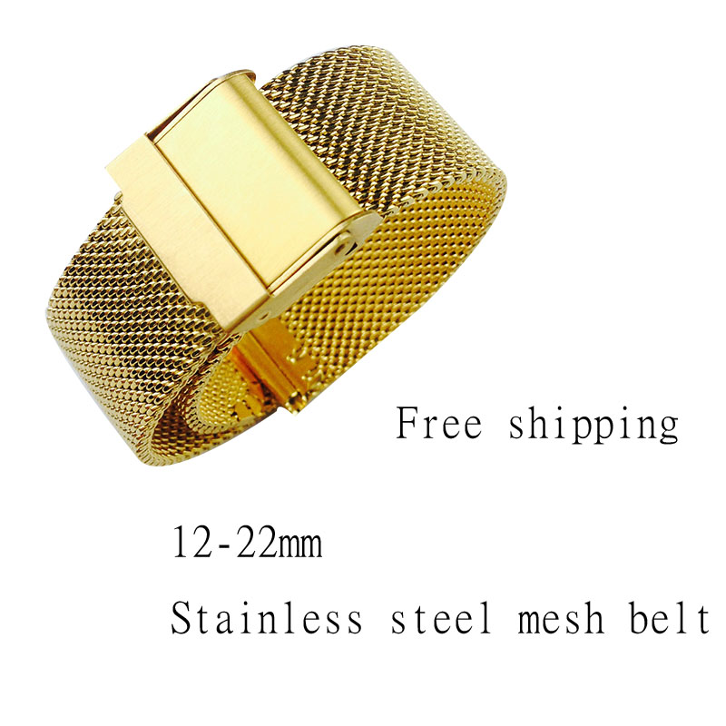 Watch Band 14mm 18mm 20mm 22mm Ultra-thin Universal Stainless Steel Metal Strap Fossil Strap Bracelet Black Rose Gold Silver image