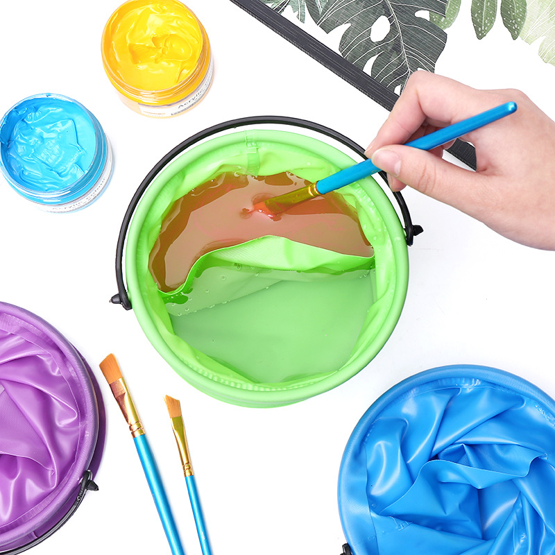 1pcs High Capacity Foldable Canvas Painting Brush Washing Bucket Wash Pen Barrel Student Drawing Brush Washer For Art Stationery