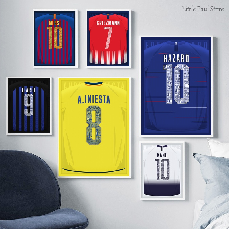 Sports football jersey Abstract Art poster Canvas Art Print Wall Pictures for Living Room No Frame