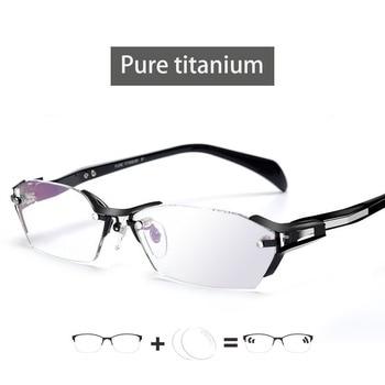 2020 Sport Optics Men Pure titanium Glasse Frame With Prescription Lens Anti-blue light Spectacles Oculos Gafas Photochrom Gray очки nike optics show x1 r matte black turbo green grey sky blue flash lens