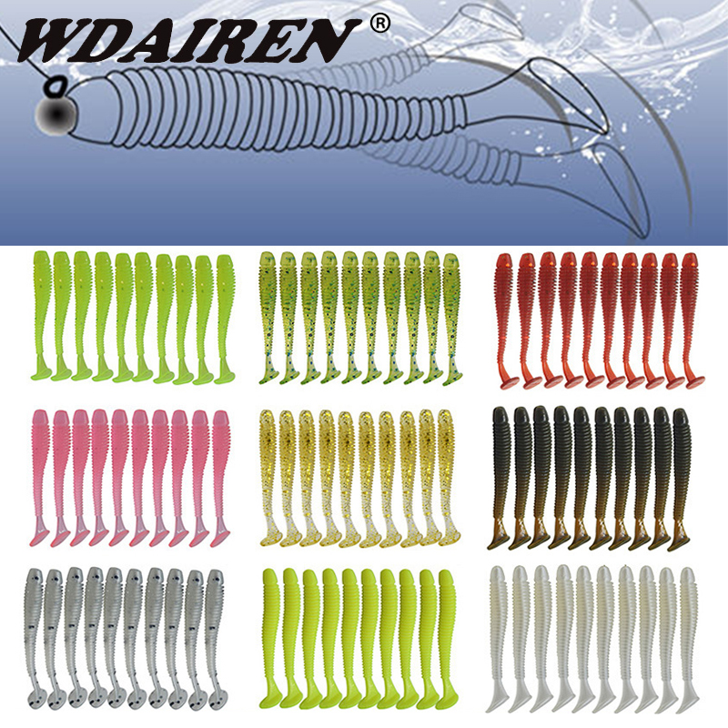 10pcs Jig Wobblers Soft Worm Fishing Lures 45mm 0.8g Bass Shad Lure For T Tail Simulation Swimbaits Silicone Bait Leurre Tackle