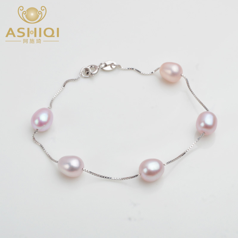ASHIQI Genuine 925 Sterling Silver Bracelet For Women 7-8 Mm Natural Freshwater Pearl Jewelry Gift