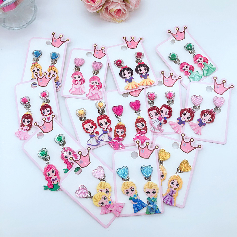 Frozen 2 Toys Princess Elsa Cosplay Pierced Ear Clips Children Jewelry Toys Girls Cartoon Fake Earrings Photo Prop Birthday Gift