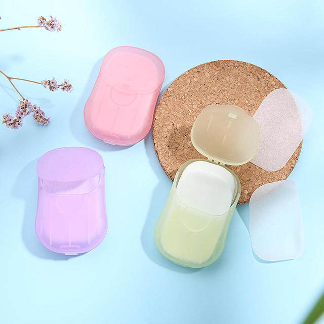 50pcs Disposable Portable Washing Hand Bath Scented Slice Sheets Foaming Box Disinfecting Paper Soap Cleaning Soap Sheet 1