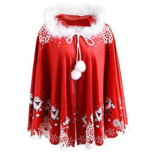 Winter Christmas Cape Coat Women Plus Size Lady Mommy Cartoon Santa Printed Hooded Cape Coat Cloak 2019 New Arrival 75(China)