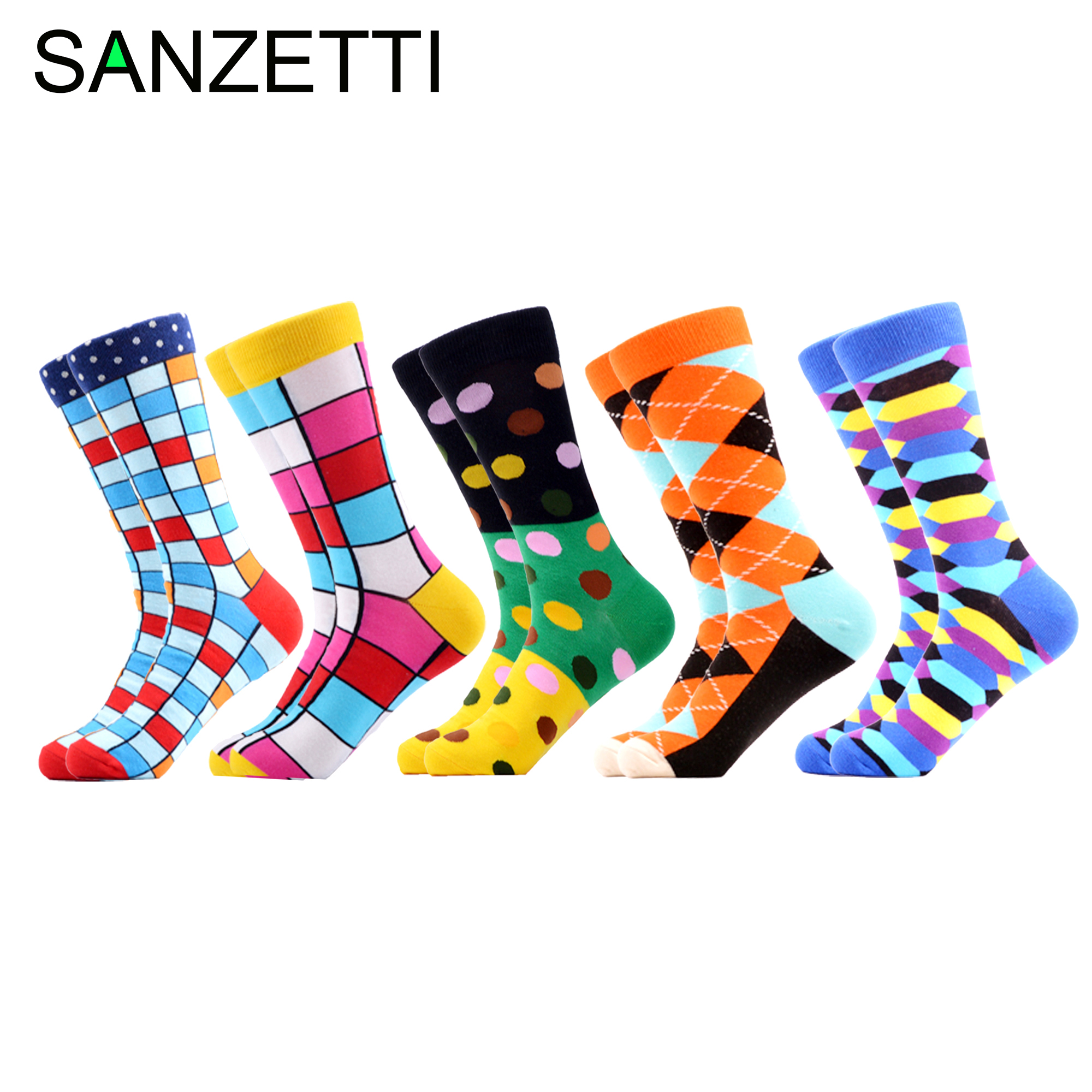 SANZETTI 5 Pairs/Lot Men Winter Casual Colorful Happy Crew Socks Hip Hop Novelty Creative High Quality Combed Cotton Dress Socks
