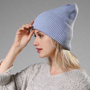 Image 5 - 2020 New Winter Solid Color Wool Knit Beanie Women Fashion Casual Hat Warm Female Soft Thicken Hedging Cap Slouchy Bonnet Ski