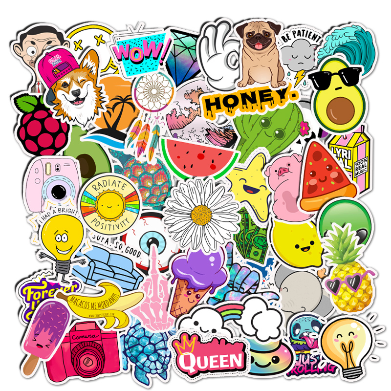 50PCS Cartoon Cute Vsco Girl Stickers Things Vinyl Waterproof Skateboard Motorcycle Fridge Hydro Flask Laptop Stickers Kids Toys