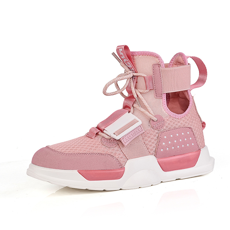 Shoes-Trainers Platform-Sneakers Skateboard Sport-Shoes Women High-Top Fashion Pink Breathable title=