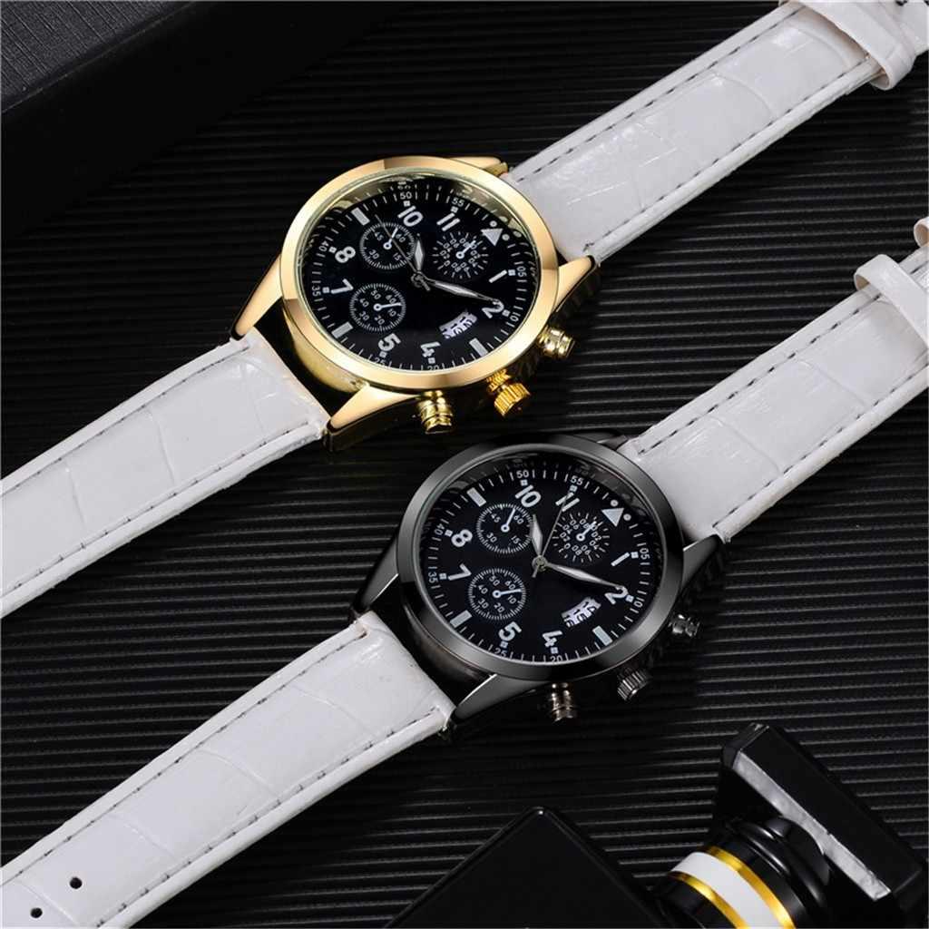 高級ブランドメンズ腕時計クォーツ腕時計男性防水ブラウンレザーストラップファッション発光時計レロジオmasculino