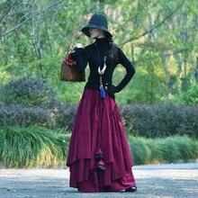 Женская длинная Вельветовая юбка, длинная трапециевидная юбка с эластичной талией и большим подолом, Осень зима 2020