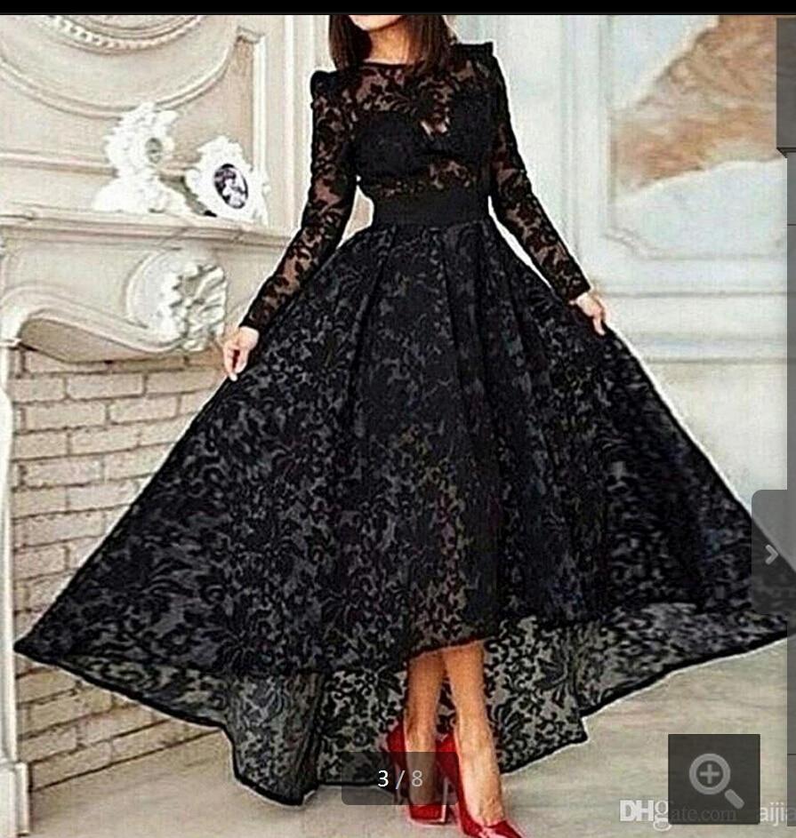 Vestido 2018 Black Lace Long A Line Elegant Prom Crew Neck Long Sleeve Lace Hi Lo Evening Gown Mother Of The Bride Dresses