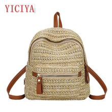 YICIYA Straw Women Backpack Chain Mini Shoulder Bags Weave Hollow Beach Girls Satchel Schoolbag Female Small dual belt