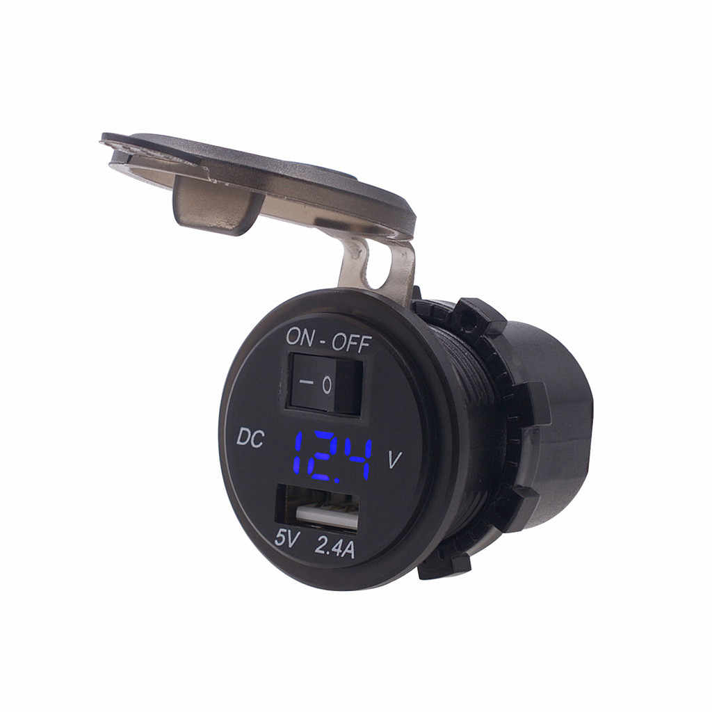Universal Motor ATV UTV 2.4A dengan Switch USB Charger Pengukur Tegangan Volt dengan Braket Tetap Adaptor Daya Aksesoris Motor # N