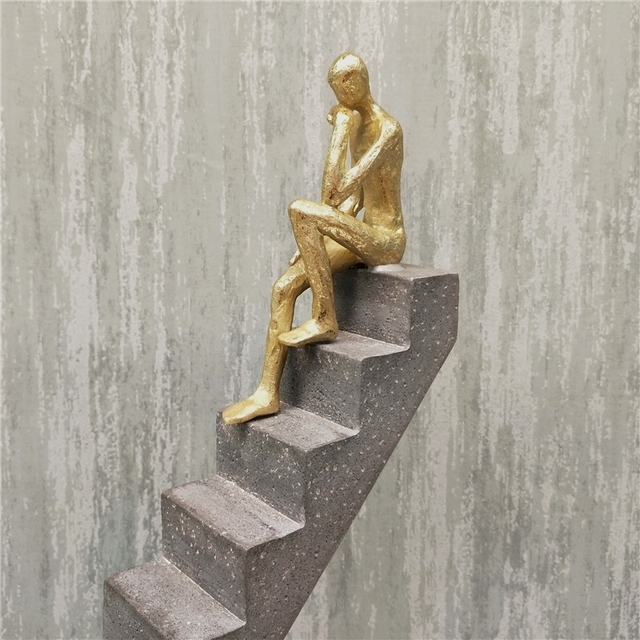 Abstract Passerby Figure Resin Thinker Miniature Upstairs Performance Art Ornament Novelty Craft Studio Decor Office Accessories 6