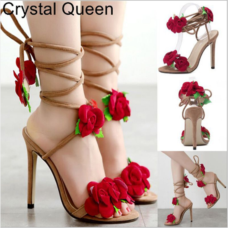 Ladies Sexy Cute Lace-up Sandals Narrow Heel Fish Mouth Peep-toe Sandals Flower Sandals Women's High Heel Sandals High Heels 11c
