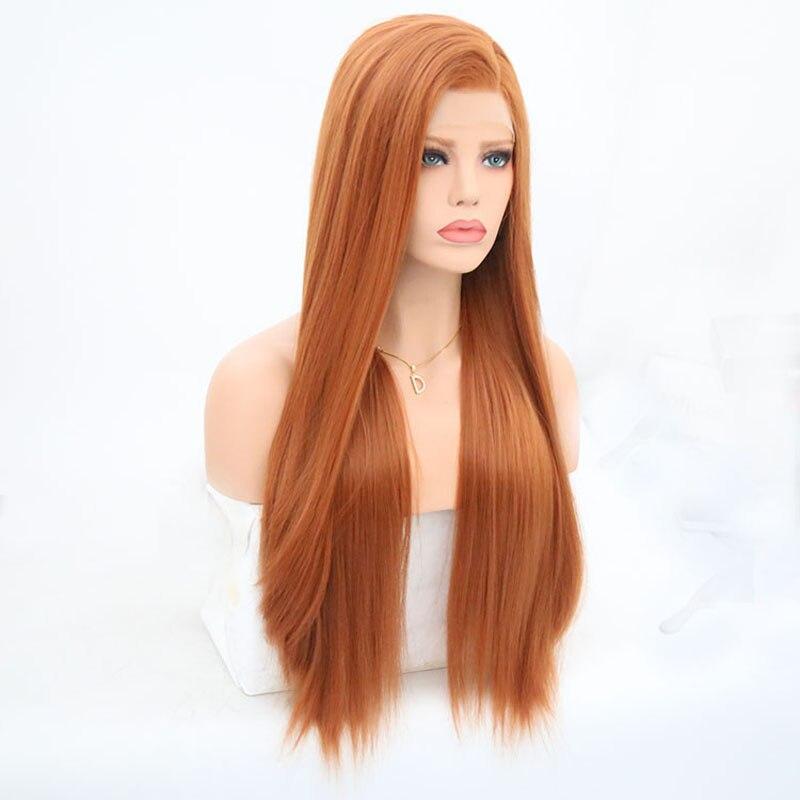 carisma perucas sintéticas de seda do laço do cabelo reto #60