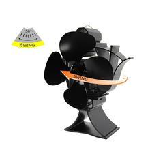4 Blades Black Heat Powered Fireplace Fan Log Wood Burner Eco Fan Quiet Home Fireplace Fan Efficient Heat Distribution