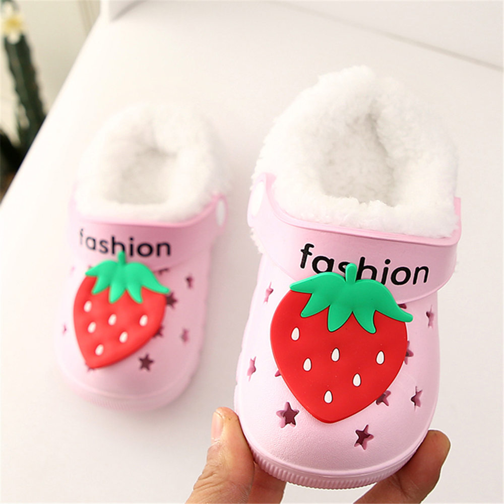 Winter Children Kids Girl Mules Warm Clogs Croc Sandals Strawberry Removable Garden Slippers Baby Toddler Shoes For Girls Boys